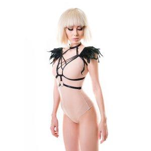 Стреп H.E.L. Kendall, текстиль + перья, чёрный, OS