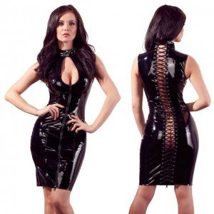 Платье лаковое черное на шнуровке Black Level S