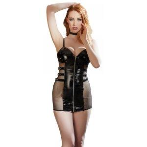 Черное лаковое мини-платье Vinyl Dress L