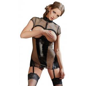 Платье из сетки с вырезами на груди XL