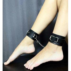 Классические черные поножи из натуральной кожи