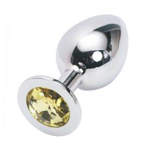 Большая анальная пробка Anal Jewelry Plug Silver Yellow L