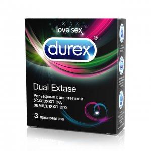 Презервативы Durex №3 Dual Extase (рельефные с анестетиком)