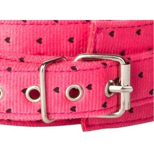 Розовый плюшевый ошейник с поводком цепочкой