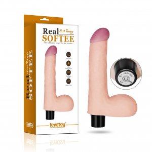 Вибратор с мошонкой Real Softee 14 см