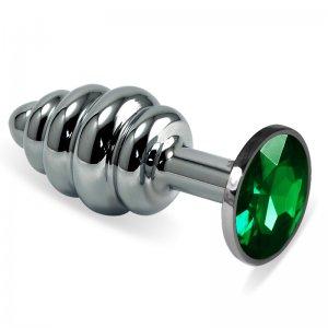 Анальная пробка Silver Small Plug рифленая зеленая