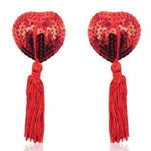 Красные пэстисы для груди с пайетками в виде сердечек