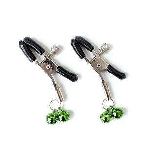 Зажимы для сосков с зеленым двойным бубенчиком