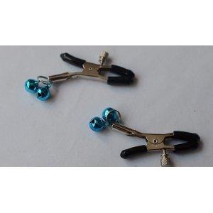 Зажимы для сосков с голубым двойным бубенчиком