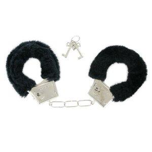Черные металлические наручники с мехом