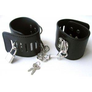 Наручники бондажные чёрные с цепочкой