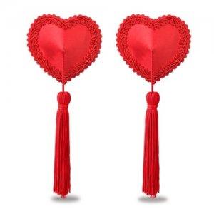 Пэстисы для груди Reusable Red Heart Tassels Nipple Pasties