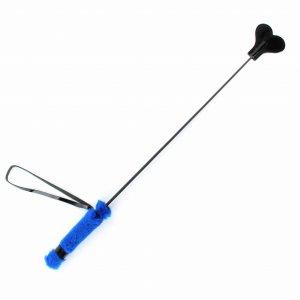 Стек сердце с ручкой из синего меха