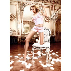 Бледно-розовая атласная пижама S/M